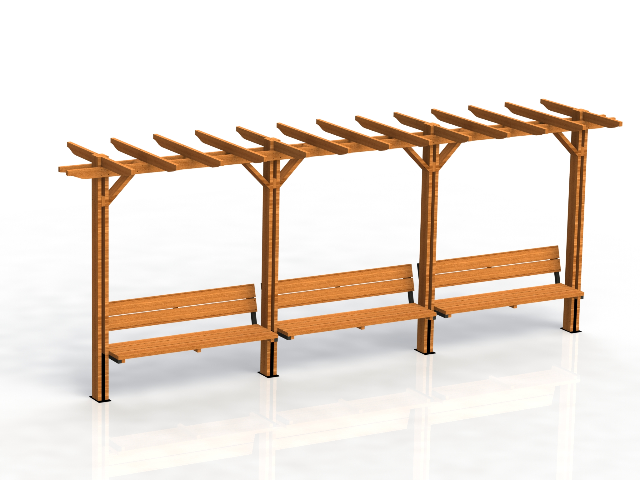 Product photo: Pergola with benches, model Optima- triple