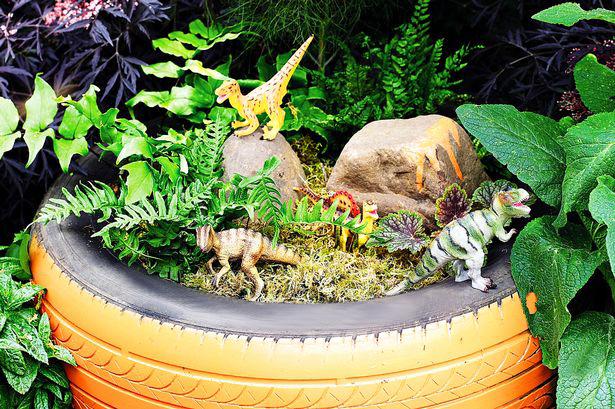 Мини джунгла в автомобилна гума
