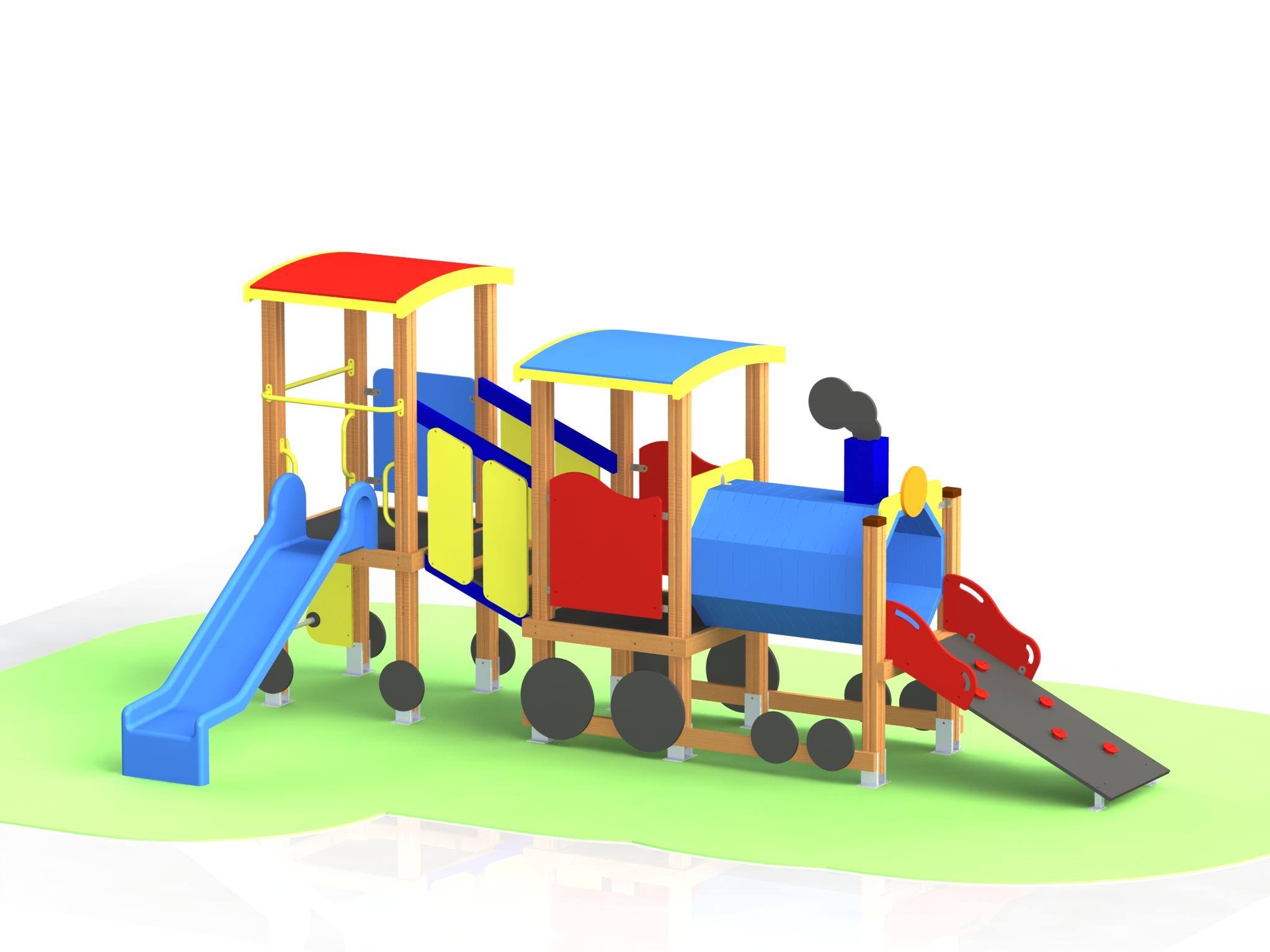 """Снимка на продукта: Комбинирано детско съоръжение, модел КД57 – """"Влакче"""""""