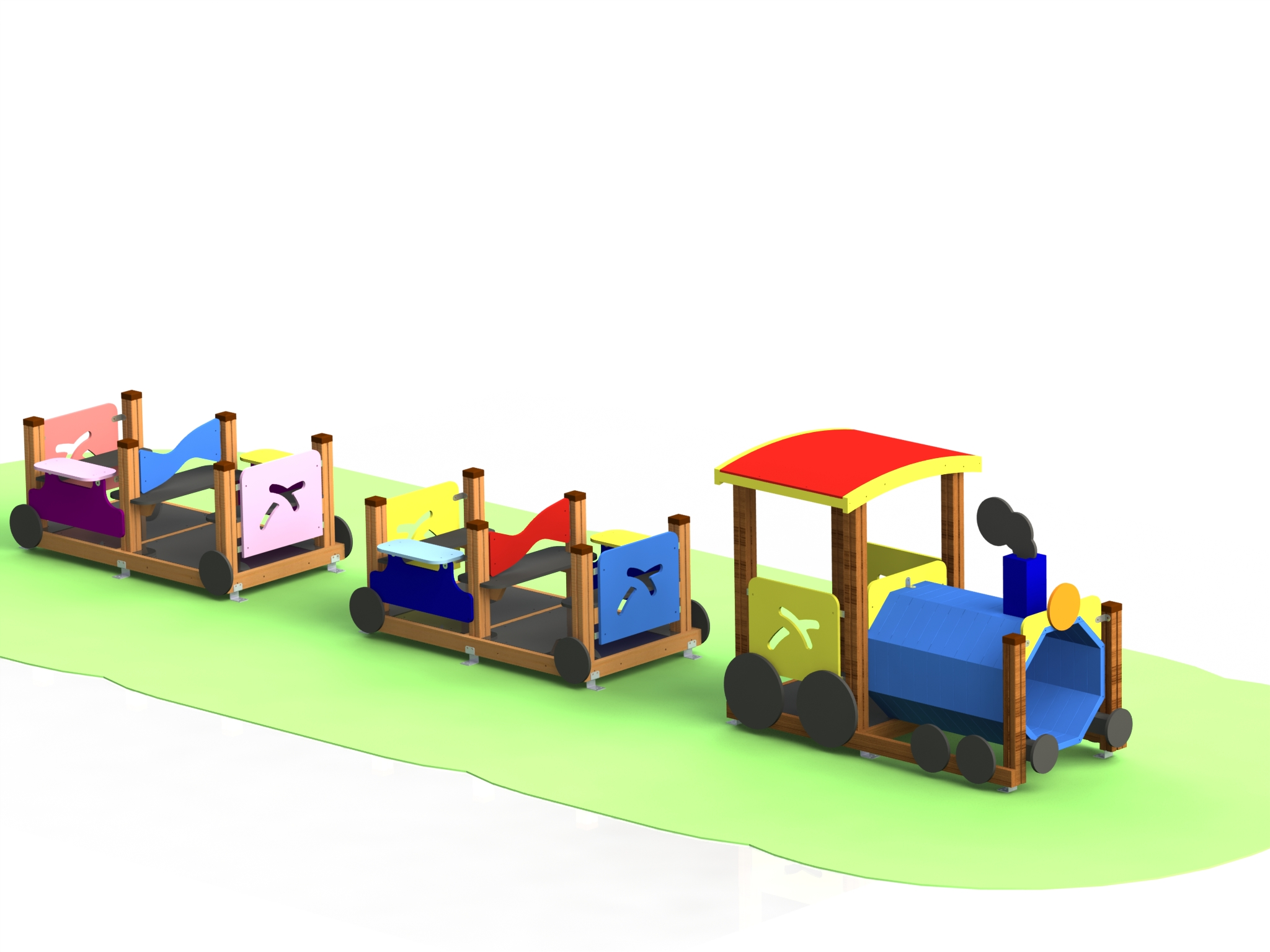 """Снимка на продукта: Комбинирано детско съоръжение, модел КД65 – """"Влакче с два вагона"""""""